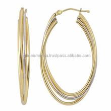 New Hip Hop Style Lead & Cadmium Free Stainless Steel Tricolor Hoop Earring