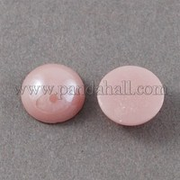 Glass Cabochons, Plated Pearlized, Half Round/Dome, Pink, 7.5x4mm GGLA-S020-8mm-04