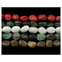 "Gemstone Beads Strands Mix, Assorted Colors, about 10~16mm wide, 16~24mm long, hole: 1mm; about 22~23 pcs/strand, 15"" G501M"