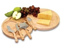Cheese Cutting Board - Wooden Rubberwood Handle Cheese Knife Set