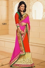 Pink and orange exclusive wedding Saree/heavy embroidery border and lace saree/designer wedding pink bridal Saree