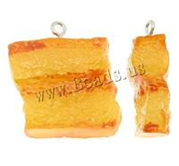 Resin Pendant with n food shape color yellow 32x34x11mm Hole:Appr 2mm 100PCs/Bag Sold By Bag