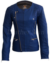 Leather Skin Women Blue Collarless Brando Quilted Genuine Leather Jacket