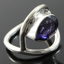 Amethyst Pear Stone Ring Ethinc Indian Jewellery Silver Plated Ring Size 7.5