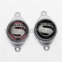 Platinum Plated Zinc Alloy Enamel Links, 1/1 Loop, Flat Oval with Superman Diamond Symbol, Mixed Color PALLOY-L132-03A