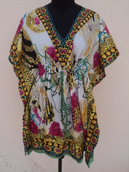 animal and floral pattern 100%polyester for womens casual wear kaftan