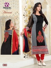 Designer printed straight long chudidar black & red party wear salwar suit