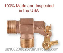 "1 1/2"" Brass Float Valve - NPT Male Inlet and Outlet, Adjustable-angle Rod Connection 100 PSI"