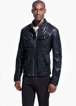 Men Studded Black Leather jacket with Belt