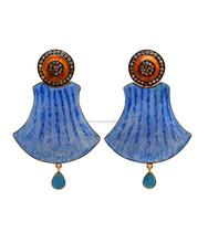 Blue Orange Drop Gold Plated Pave Setted Single Cut Diamond/ Cz Earring Code E- 326