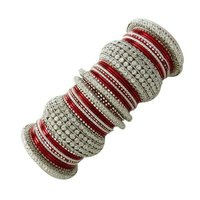 Ethnic Silver Tone Red Bangle/Churi Set Indian Bridal Bracelet/Kada Wedding Party Jewelry Gift 2*6 -BSB1200B