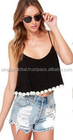 2015 Plain Black Sleeveless Crop Top With White Flory Lace For Stylish Women