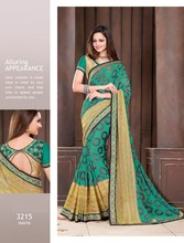 Georgette chiffon Multi embroidery saree with satin dupion fabric and dupion blouse piece