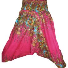 Pink Harem Pants- Baggy Loose Genie Harem Pants Trouser jumpsuit Yoga Boho Gypsy Indian women Ladies Alibaba Flower Printed Pant
