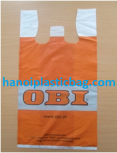printed 2 colour 2 side biodegradable vest carrier plastic bag