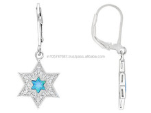 Fancy Lab Created Blue Opal With White Topaz Silver Star Of David Earrings Web Only, Handcrafted Silver Jewelry