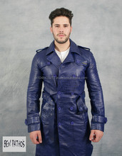 Man genuine leather long coat, slimfit style BENPA'THOS