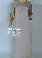 Satin With Lace Sleeve Jubah Dress Muslimah