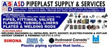Thermoplastic Pipes, Fittings, Valves, Flanges, Tubings, Liners, Plates and Welding Rods