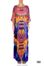 Devarshy Animal print African Tribal Beaded embellished Long Kaftan