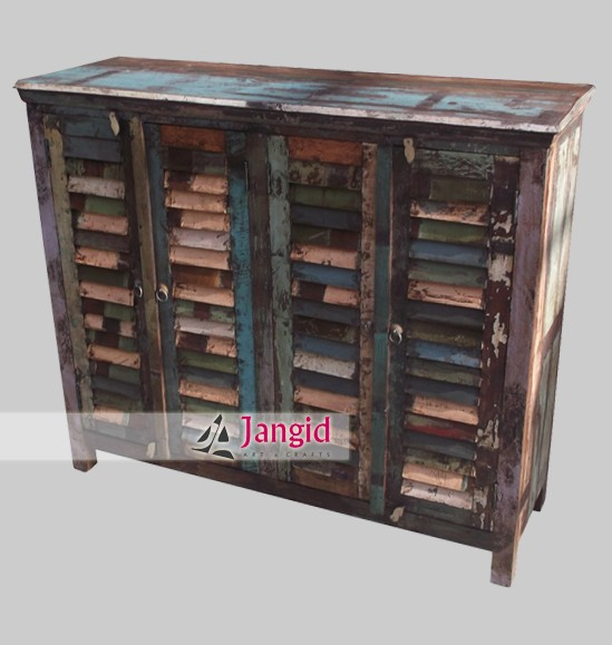 Riseonly Reclaimed Wood Shutter Door Sideboard Furniture