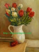 Handmade modern abstract new print flower vase white Oil Painting