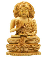 2015 New Christmas Hand Carved Wood Sitting Buddha Statue/Antique Painted Wooden Lord Buddha Statue/Wooden god statue