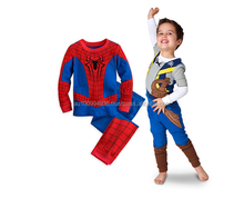 Boy's long sleeves pajamas, Cartoons designs, Children's 2pcs set, Spiderman set, MS-347