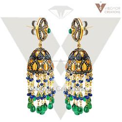 Beads Earring Emerald, Pearl & Sapphire Earring 14k Gold Diamond Earring 925 Silver Jewelry Supplier