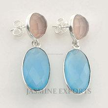925 de plata de ley pendientes de piedras preciosas calcedonia azul, joyas de plata al por mayor