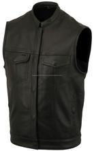 Mens Motorcycle Biker Leather Vest, 2 Front Pockets, Gun Pocket