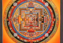 Kalachakra Mandala Tibetan Thangka - Buddhist Painting Handmade in Nepal
