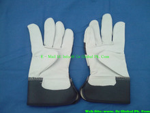 leather work glove, patched palm, purple stripe back, plastic cuff cow split leather work glove