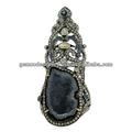Real del diamante del diseñador allanar ajuste anillo de largo, zafiro azul tachonado de piedras preciosas anillos