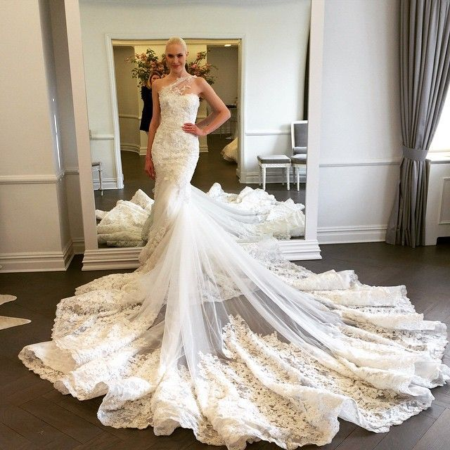 Wdwa-100 Lace Tulle Trumpet Bridal Gown One Shoulder With Long Train ...