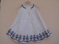 Cute hand embroidered dress for girls new summer collection / 100% cotton voile fabric kids wear dress