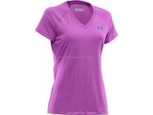 Ladies V neck Compression Shirt / Polyester Women T shirt