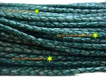 Античная темно-зеленый плетеный боло кожаный шнуры
