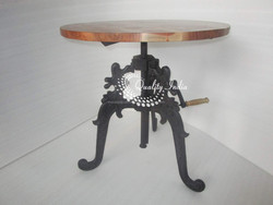 Wooden Top With Metallic Designer Base Table