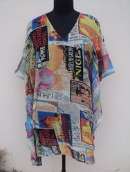 New poly leser georgette fabric printed beautiful kaftan dress / Mini kaftans for womans & girls wear