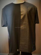 POLYURETHANE T-SHIRT/Red Plaids Cotton Gold Zipper Tee, Mens Crew Neck PU Leather Splice Long Sleeve T-shirt ,