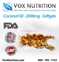 Organic Coconut Oil 2000 mg Supplement, Bulk Softgels - Private Label Coconut Oil Supplement