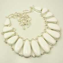 Natural White Coral .925 Sterling Silver Gemstone Jewelry Necklace