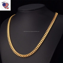 18K Real Gold Plated Stainless Steel Necklace Chain Types for Men