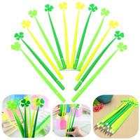 12pcs/lot Best Promotion Green Grass Blade Design Ballpoint Leaf Pen Black Ink For School Office Stationery