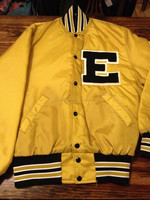 Musicl Band Gold Satin Look LETTERMAN JACKET/Letterman Varsity Jacket/Basketball Varsity Jacket