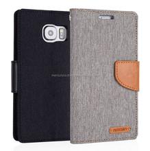 PU leather phone case Mercury Canvas diary PU leather case (Gray Camel)