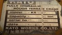 USED CRANE KATO KR45H-V 45TON Rough Terrain Crane 1991Y Made in Japan place in Korea