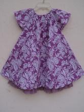 Baby girls children wholesale kids casual dresses / Screen printed girls wear cotton purple color dress