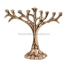 Jerusalam brass candelabras candle holder with antique finish , menorah candlestick holder and handicraft menorah candle holder